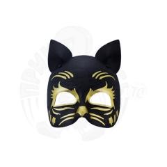 Полумаска Кошка черная (золото)