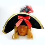 Шляпа Пиратская с бантом и перьями